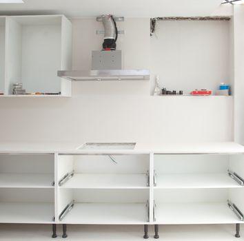 Interior design construction of a kitchen
