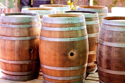 barrels of oak wood for wine or liquor