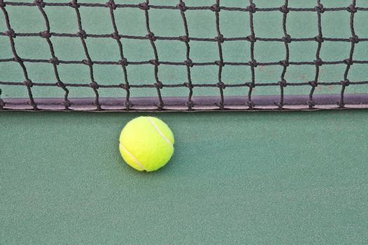 Tennis Court with ball on net