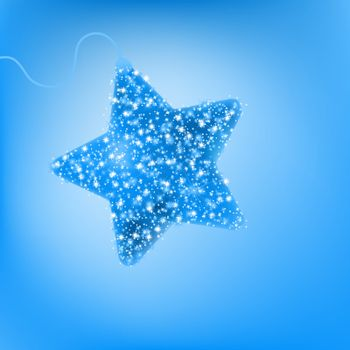 Postcard with a twinkling blue star. EPS 8
