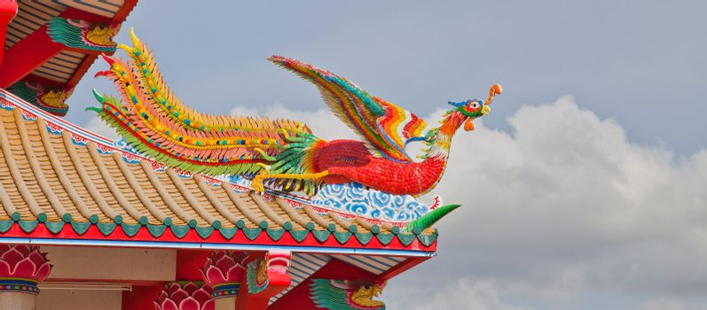 Colorful Phoenix on temple roof