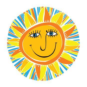 vector abstract smiling sun