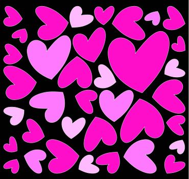 abstract pink hearts on black background
