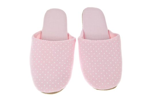 Pink slippers isolated on white background