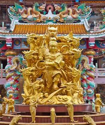 Sculpture of Naja in Chinese Temple