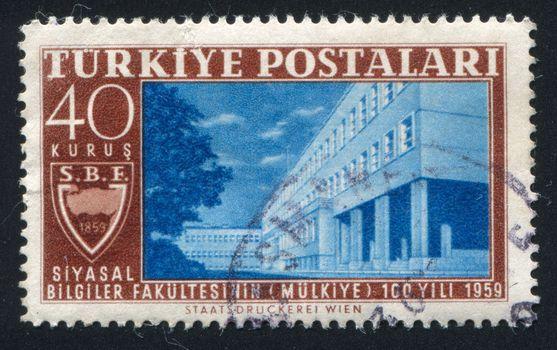 TURKEY - CIRCA 1959: stamp printed by Turkey, shows school political science, Ankara, circa 1959