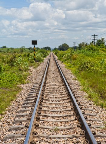 Railway track with signboard