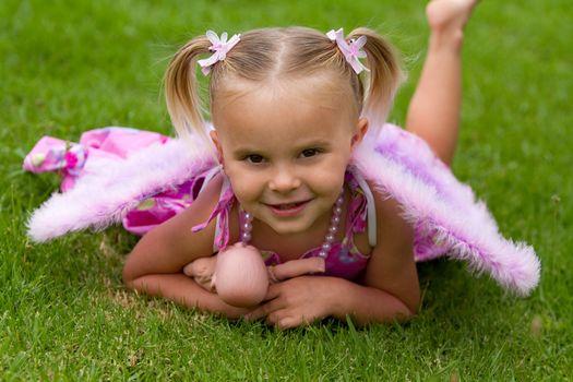 Pretty little girl wearing pink