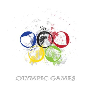 fine image with exploded colors of olympic rings