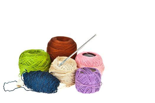 Colorful knitting wool balls