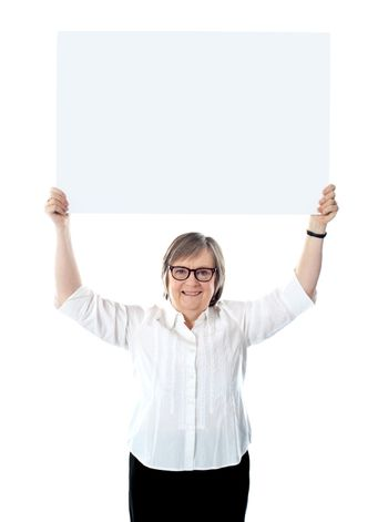 Woman with blank billboard over her head