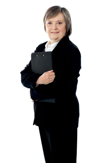 Corporate lady posing with documents