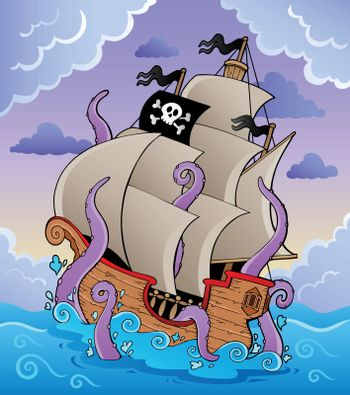 Pirate ship with tentacles in storm