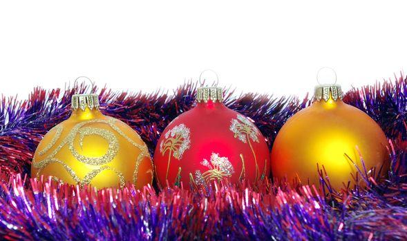 Christmas tinsel and toys