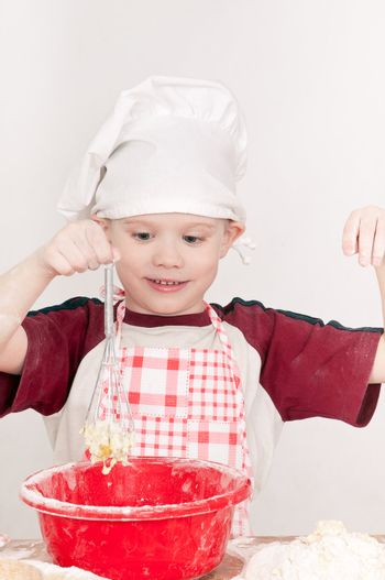 boy with red bowl