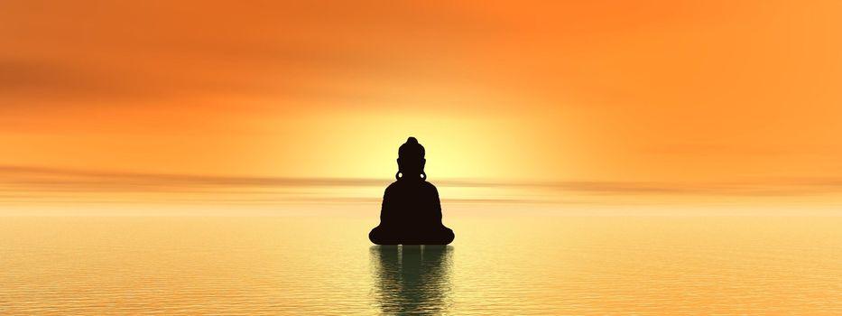 Bouddist meditating upon water at sunset time