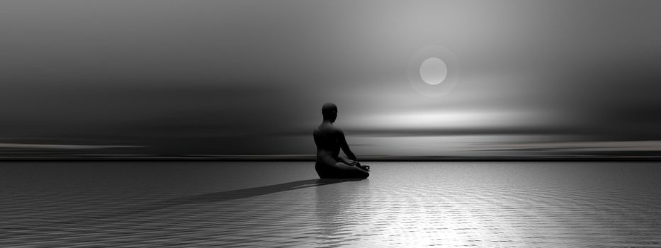 Man meditating upon the ocean in front of the moon by night
