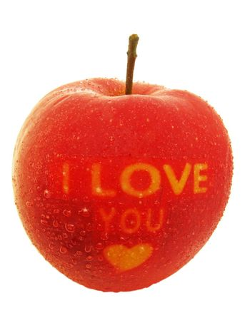 red apple with I Love You text