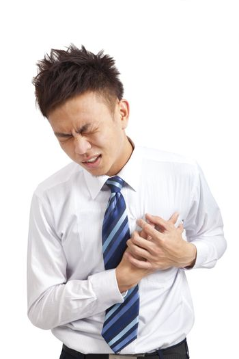 asian Young businessman with heart attack