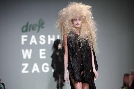 """ZAGREB, CROATIA - May 10: Fashion model wears clothes made by Rannva Karadottir & Marianna Morkore on """"ZAGREB FASHION WEEK"""" show on May 10, 2012 in Zagreb, Croatia."""