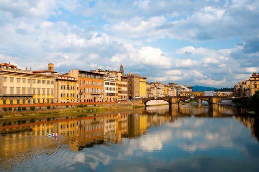 Firenze - Italy - Arno river and Alle Grazie Bridge