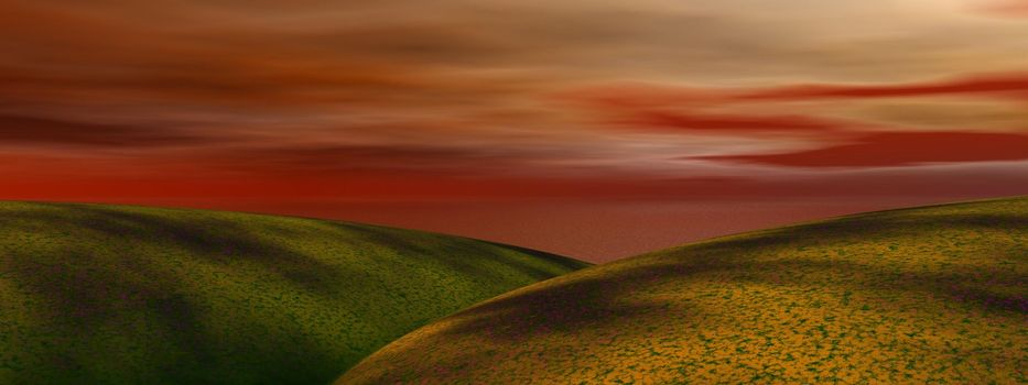 hills and sky red