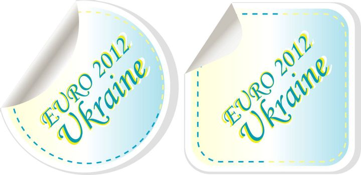ukraine euro 2012 in flag colors sticker set. vector illustration