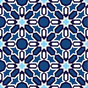 Vector of blue and white mosaic in traditional Islamic design