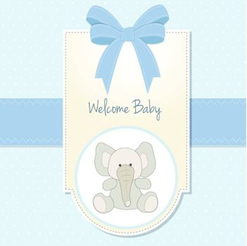 baby boy welcome card with elephant