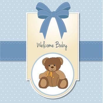 baby boy welcome card with teddy bear