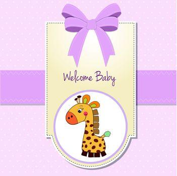 baby girl welcome card with giraffe