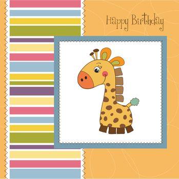 birthday card with giraffe toy