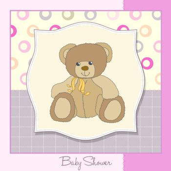 new baby girl announcement card with teddy bear