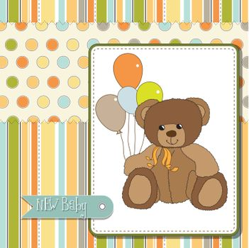 welcome baby card with teddy bear