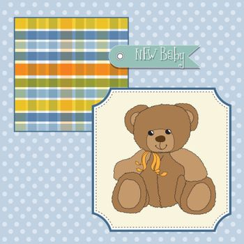 new baby announcement card with teddy bear