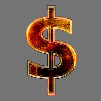 3d abstract and futuristic currency sign - dollar