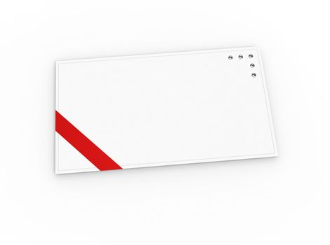 Blank greeting card (for greeting or congratulation) with red ribbon