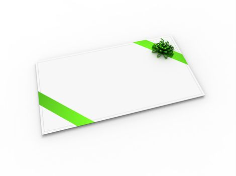 Blank greeting card (for greeting or congratulation) with green ribbon and bow