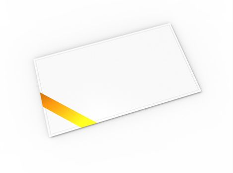 Blank greeting card (for greeting or congratulation) with yellow ribbon