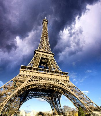 Front view of Eiffel Tower from Champ de Mars