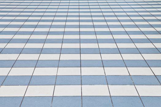 White and blue tile floor