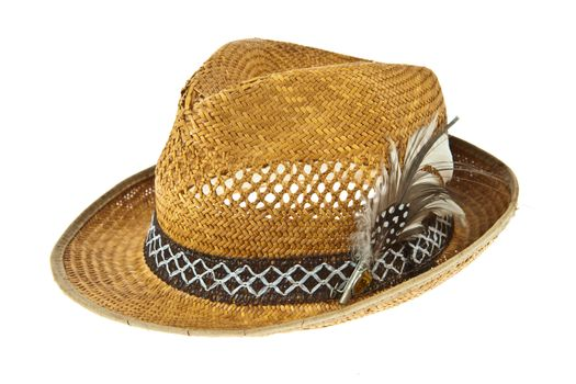 Beautiful traditional Panama hat with feather decorated isolated