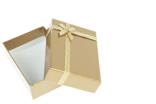 gift box with golden ribbon isolated on white background