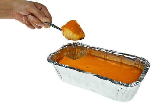 Butter cake topping with jelly orange