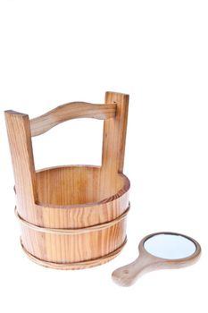 Wooden bucket with mirror