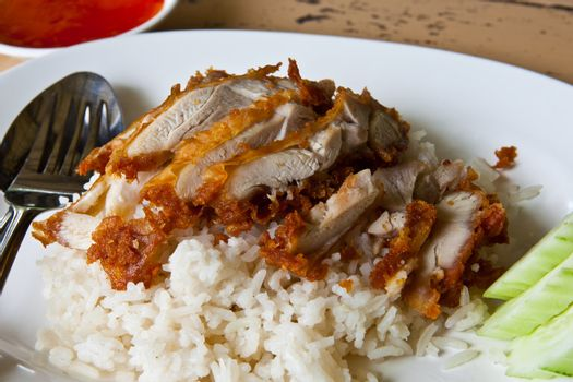 Fried Chicken with Rice in Asian Style