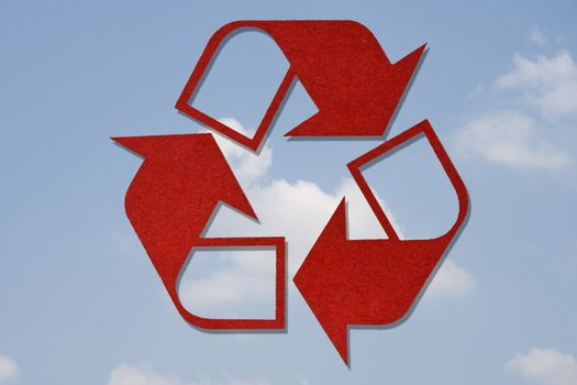 Recycled Symbol on Sky Background