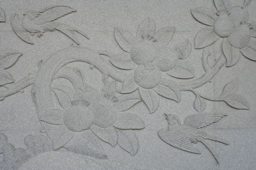 Birds with Trees and Flowers on Carve Wall