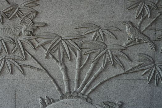 Birds with Bamboo Tree on Carve Wall
