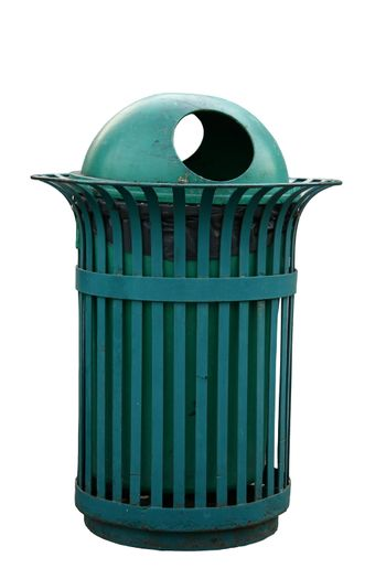 Isolated Outdoor bin in green color